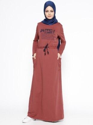 Baskılı Elbise - Kiremit