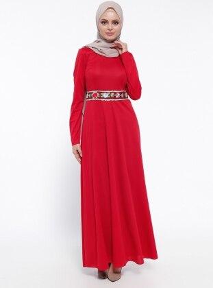 Bel Detaylı Elbise - Kırmızı