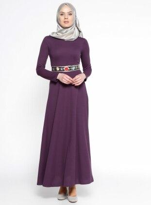 Bel Detaylı Elbise - Mor