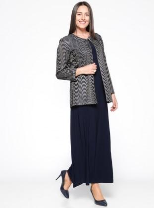 Ceket&Kolsuz Elbise İkili Takım - Lacivert