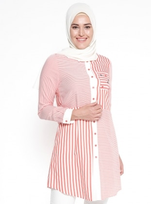 Red - Stripe - Point Collar - Plus Size Tunic
