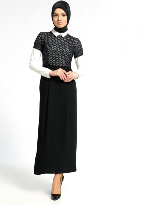 Black - Point Collar - Fully Lined - Dress