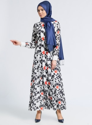 Desenli Elbise - Siyah Beyaz Kayra