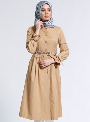 Düğmeli Kap - Camel
