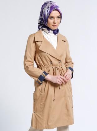 Düğmeli Trençkot - Camel Kayra