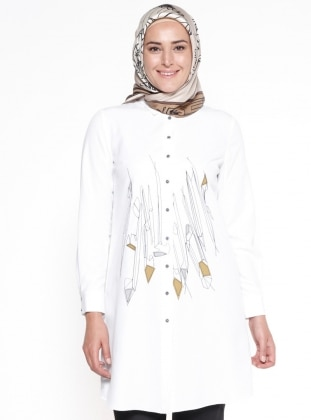 Point Collar - White - Plus Size Tunic