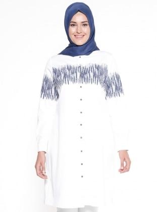 Multi - Ecru - White - Button Collar - Plus Size Tunic