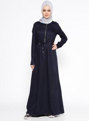 Fermuar Detaylı Elbise - Lacivert
