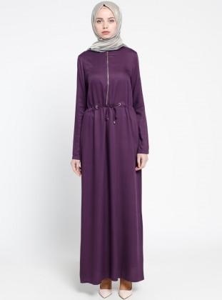 Fermuar Detaylı Elbise - Mor ALLDAY