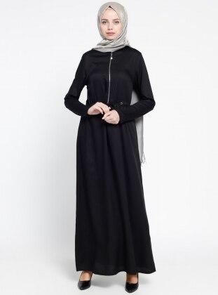 Fermuar Detaylı Elbise - Siyah