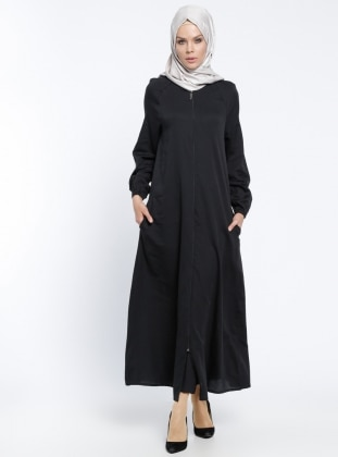 Black - Unlined - Crew neck - Abaya - ModaNaz 291011