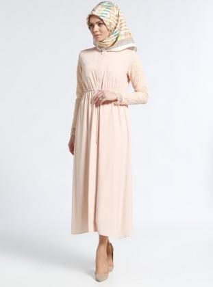 Gizli Düğme Detaylı Dantelli Elbise - Somon Kayra