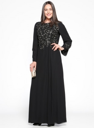 Güpürlü Abiye Elbise - Siyah