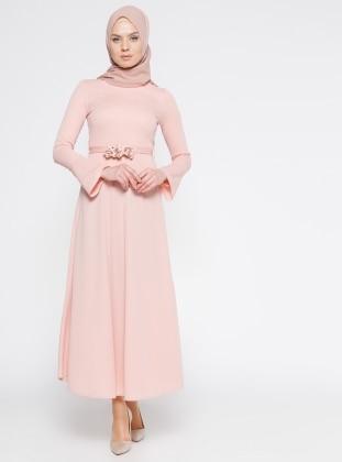 Kemerli Elbise - Pudra