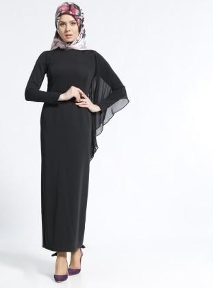 Kemerli Elbise - Siyah Kayra