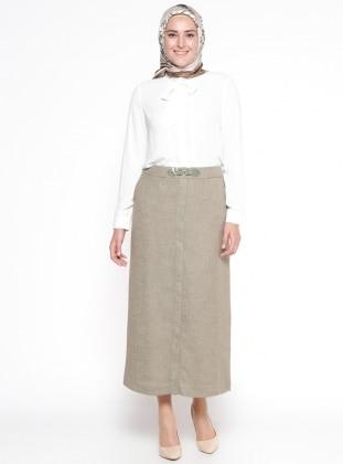 Khaki - Fully Lined - Plus Size Skirt