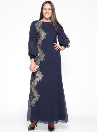 Arıkan Nakış Detaylı Abiye Elbise - Lacivert