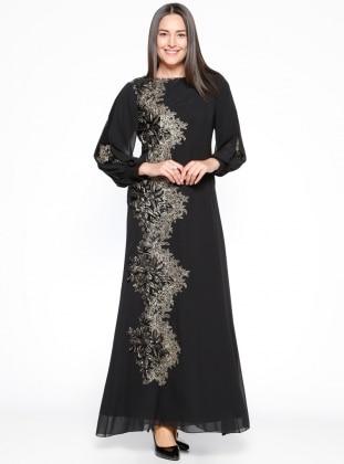 Nakış Detaylı Abiye Elbise - Siyah