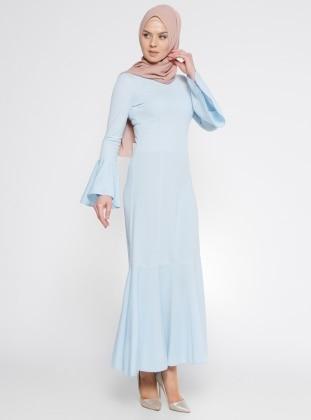 Volan Detaylı Elbise - Bebe Mavisi