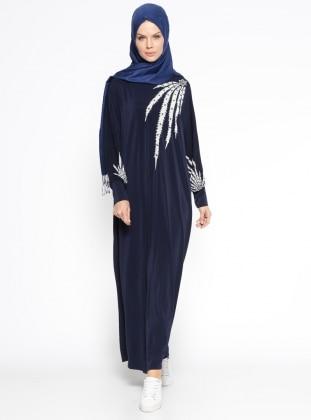 Eflatun Yarasa Kollu Salaş Elbise - Lacivert