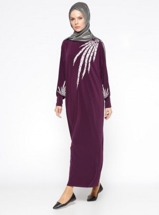 Yarasa Kollu Salaş Elbise - Mürdüm
