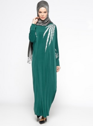 Yarasa Kollu Salaş Elbise - Yeşil