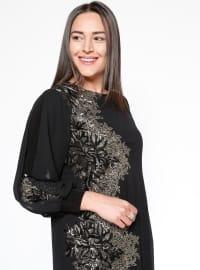 Black - Multi - Fully Lined - Crew neck - Muslim Plus Size Evening Dress