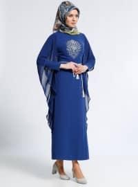 Astarlı kumaş - Yuvarlak yakalı - Lacivert - Elbise