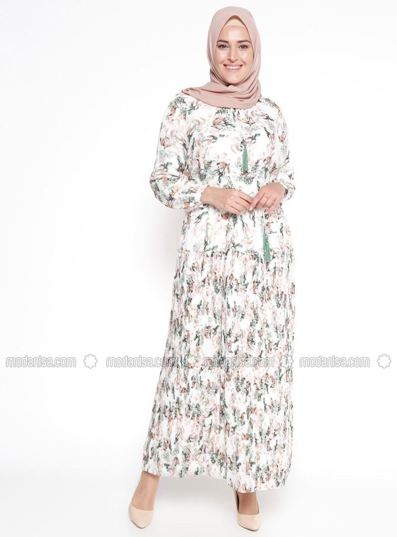 Crew neck - Fully Lined - Multi - Ecru - Mint - Plus Size Dress