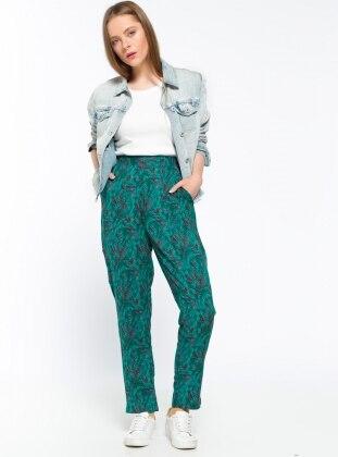 Beli Lastikli Pantolon - Yeşil Kırmızı Koton