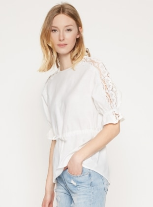 Dantel Detaylı Keten Bluz - Beyaz Koton