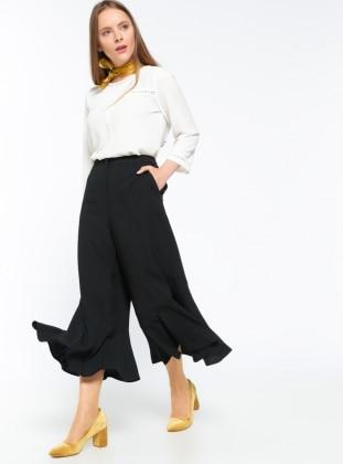 Volan Detaylı Pantolon - Siyah Koton