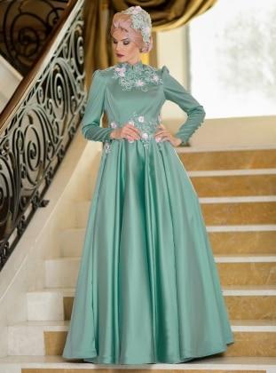 Ahu Nisa Abiye Elbise - Mint Yeşili Zehrace