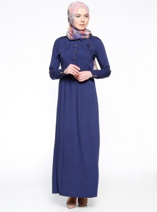 Arma Detaylı Elbise - Lacivert