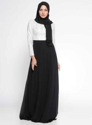 Dantelli Abiye Elbise - Ekru Siyah