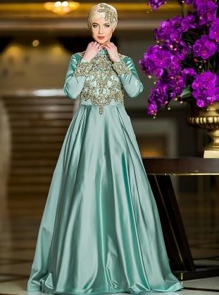 Efsane Abiye Elbise - Mint Yeşili Zehrace