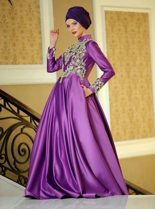 Efsane Abiye Elbise - Mor Zehrace