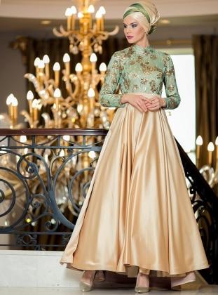 Esila Abiye Elbise - Gold Yeşil Zehrace