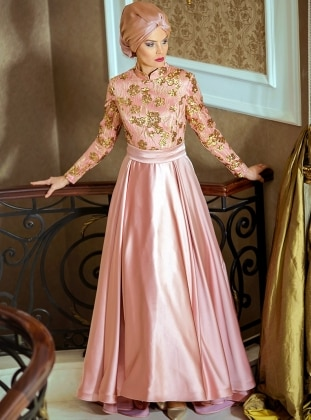 Esila Abiye Elbise - Pudra