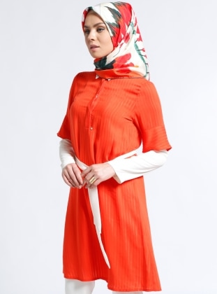 Orange - Point Collar - Viscose - Tunic