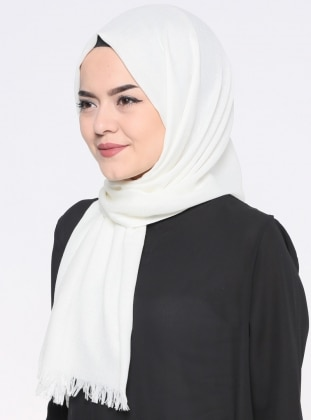 Ecru - Plain - Pashmina - Shawl - Mervin Şal