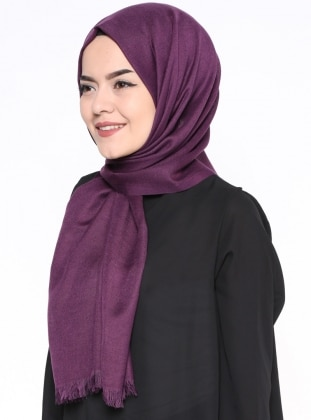 Purple - Plain - Pashmina - Shawl