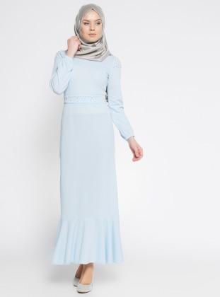 İncili Elbise - Bebe Mavisi