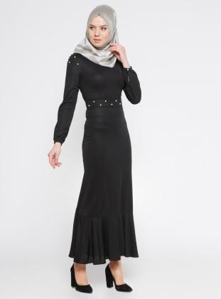 İncili Elbise - Siyah