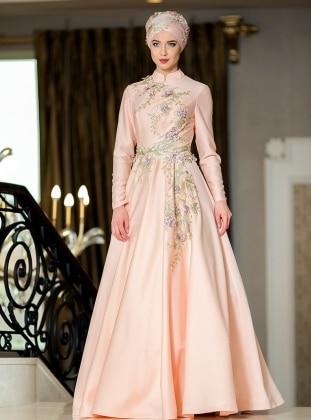 Kamelya Abiye Elbise - Somon Zehrace