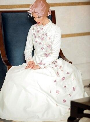 Kardelen Abiye Elbise - Ekru Zehrace
