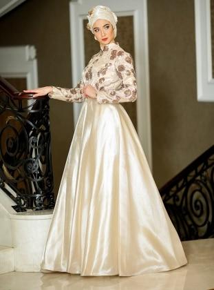 Zehrace Karina Abiye Elbise - Krem