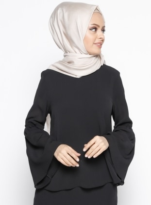 Kolları Fırfır Detaylı Bluz - Siyah Belle Belemir
