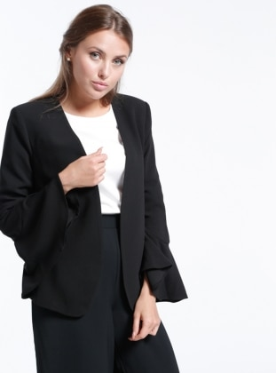 Kolları Volanlı Ceket - Siyah