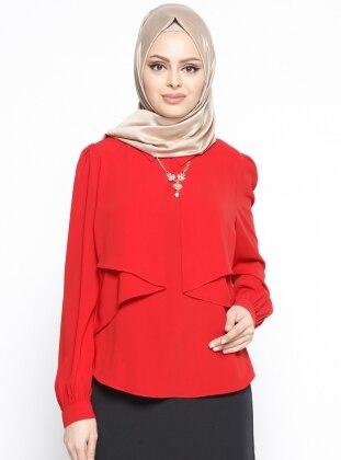 Kolye Detaylı Bluz - Kırmızı Belle Belemir